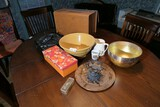 Group lot misc items on table inc dollhouse furniture