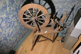 Antique unusually small, complete spinning wheel