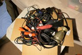 Box lot audio wires, headphones etc