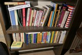 2 shelves of vintage cookbooks