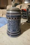 Nice named and dated cobalt blue decorated stein