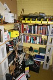 Large corner lot electronics, parts, cords etc