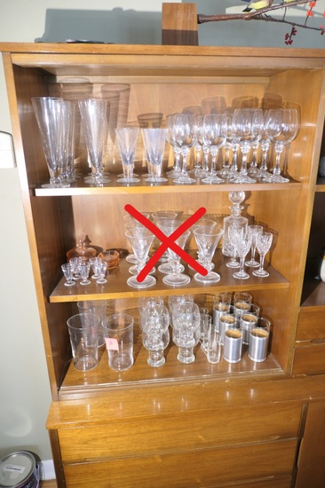 Large lot of better crystal, mid century glasses