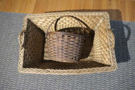 Two Antique Baskets gathering and larger sized