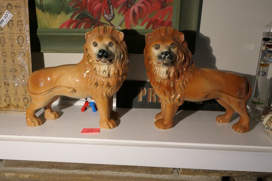 Pair of 19th c. Staffordshire Lions