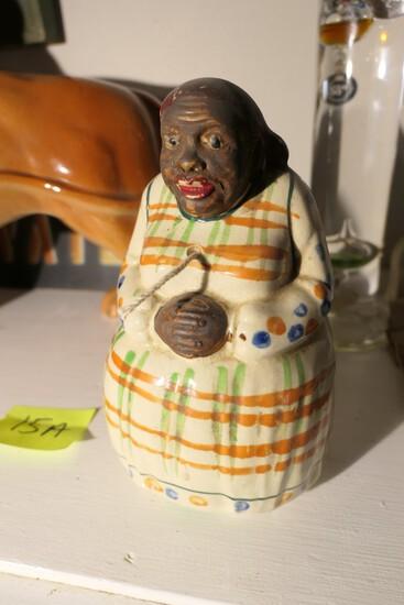 Antique Black Americana Ceramic String Holder