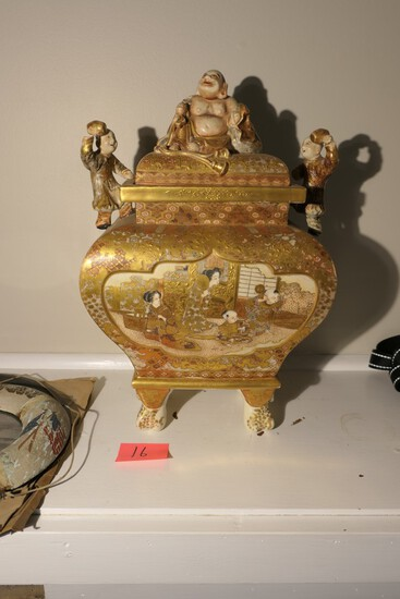 Fine Japanese Porcelain high-end Satsuma lidded Jar w/figures