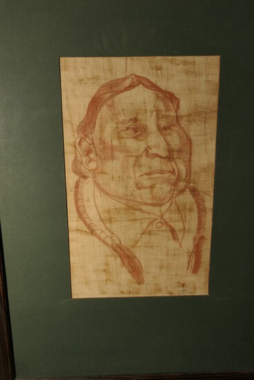 20th century Pencil on Paper Drawing of a Native American - Signed
