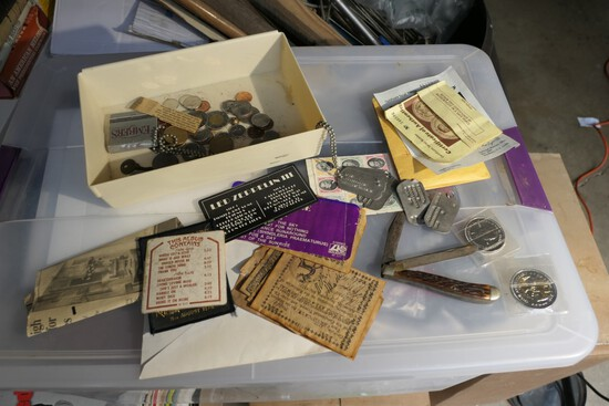 Old knife, dog tags, Led Zeppelin items etc
