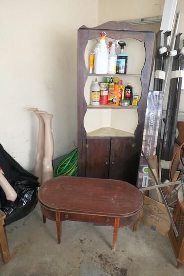 Vintage built in corner cabinet + coffee table