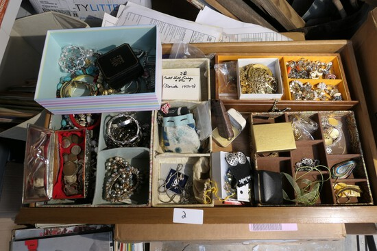 Large lot assorted vintage costume jewelry, silver coins etc