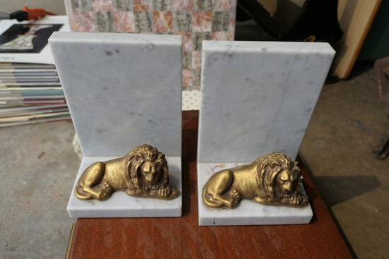 Pair of nicer antique lion bookends