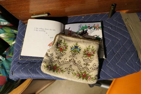 Antique children's book plus beaded purse