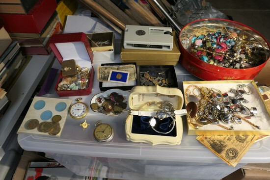 Large lot assorted vintage costume jewelry, watches, coins