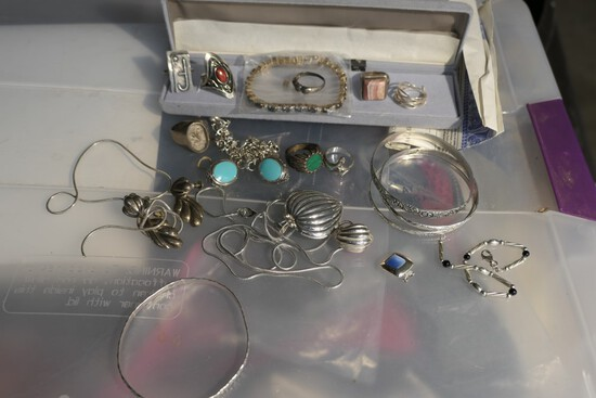 Large lot assorted sterling silver jewelry