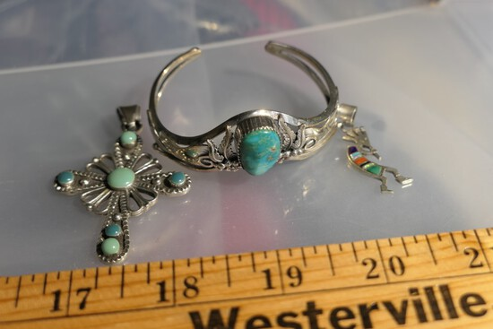 3 Pieces Sterling SIlver Southwestern and Mexican Jewelry