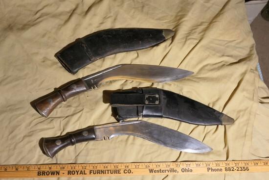 2 Larger Vintage Gurkha Kukri Knives in Sheaths