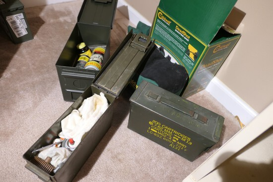 3 Metal Ammo Cans, 2 with cleaning supplies + Deadshot Rests