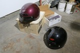 2 motorcycle helmets, carb unit, motorcycle accessories