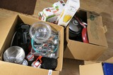Two boxes assorted kitchen items and more