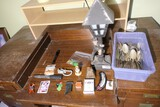 Group lot of misc smalls, lamp, flatware