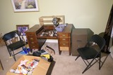 Desk, file cabinet, chairs lot