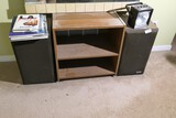 Pair of speakers and shelf