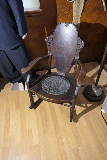Antique Rocking Chair with Elaborate Leather Seat