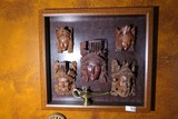 Framed group of Asian Buddha, Scholar Heads