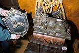 Decorative Lion Statue + Lion Plaque