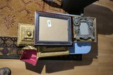 Group lot of frames including Lion, tote