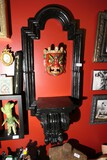 Wall sconce, wooden alter frame, mask lot