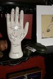 Vintage Palmistry Hand, Lens, glasses case