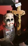 Baby Doll Head Lamp on Jar + Cross that opens