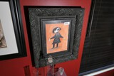 Original Macabre Painting of a Man in frame