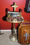 Unusual antique brass religious stand with cross