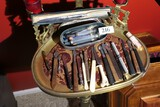 Scalpels, Syringes, medical items on stand