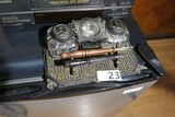Antique Inkwell with figural lids + Pens