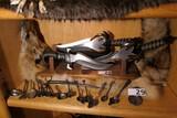 Set of 3 Vintage Gil Hibben Knives on stand