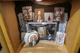 Display with assorted Native American items