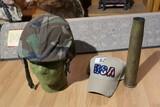 Artillery shell, military helmet, head form, hat