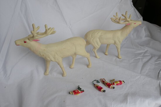 Celluloid Reindeer (Occupied Japan) + Small Santa charms