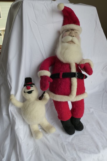 Vintage Felted Santa Claus and Snowman