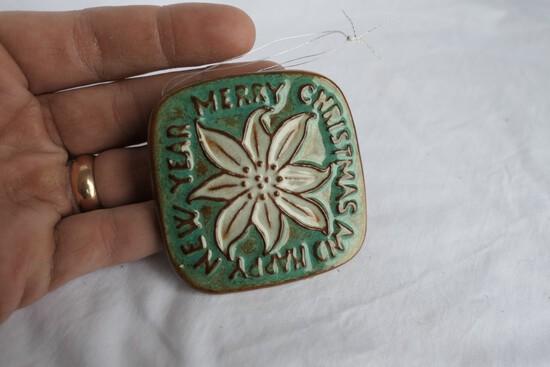 Vintage Nicodemus Ceramic Ferros-Stone Christmas Ornament