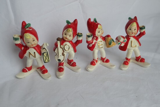 Set of 1950s Ceramic Noel Elves Japan