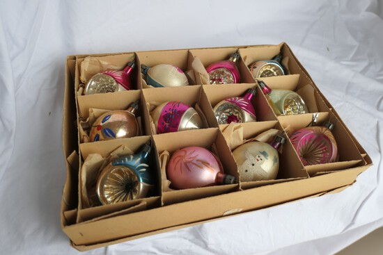 Group of Vintage 50s Polish glass crystal Christmas Ornaments