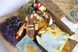 Assorted Vintage and Antique Easter Items in old candy box