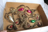 Antique Christmas Garland Strand, Ornaments lot