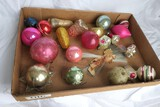 Flat of well worn Early Christmas Ornaments