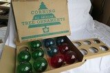 Nearly full box of Corning All American Christmas Tree Ornaments